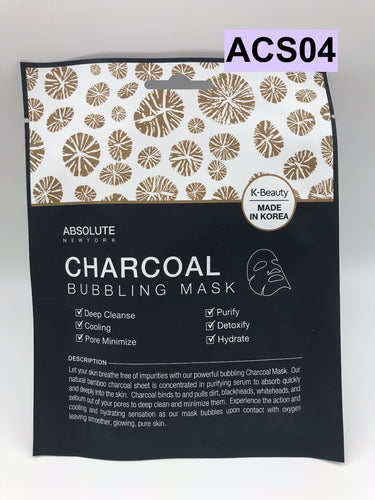 ABSOLUTE NEW YORK K-BEAUTY CHARCOAL BUBBLING MASK ACS04 PURIFY DETOXIFY HYDRATE