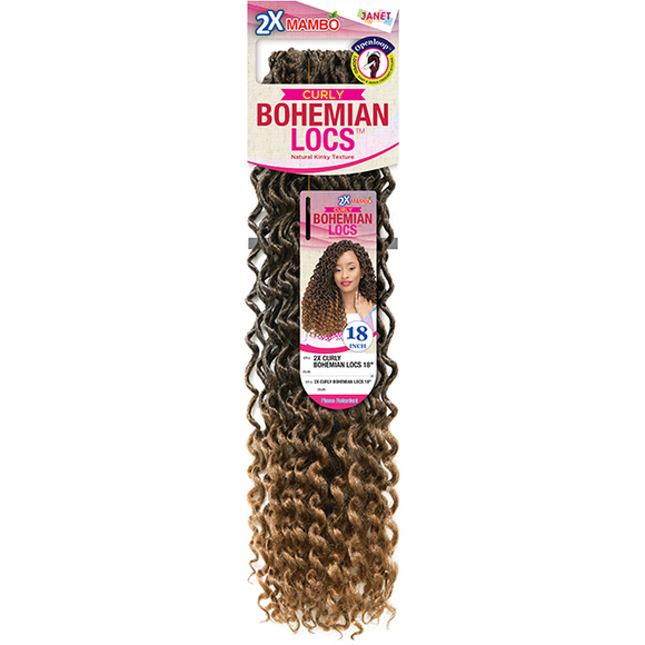 JANET COLLECTION 2X CURLY BOHEMIAN LOCS 18″