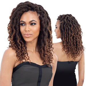 "FREETRESS SYNTHETIC HAIR CROCHET BRAIDS 2X WAVY CUBAN GORGEOUS LOC 12"" (GODDESS LOC)"