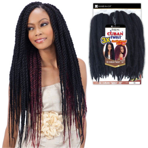 FREE TRESS EQUAL BRAIDS DOUBLE STRAND STYLE 3X CUBAN TWIST 16
