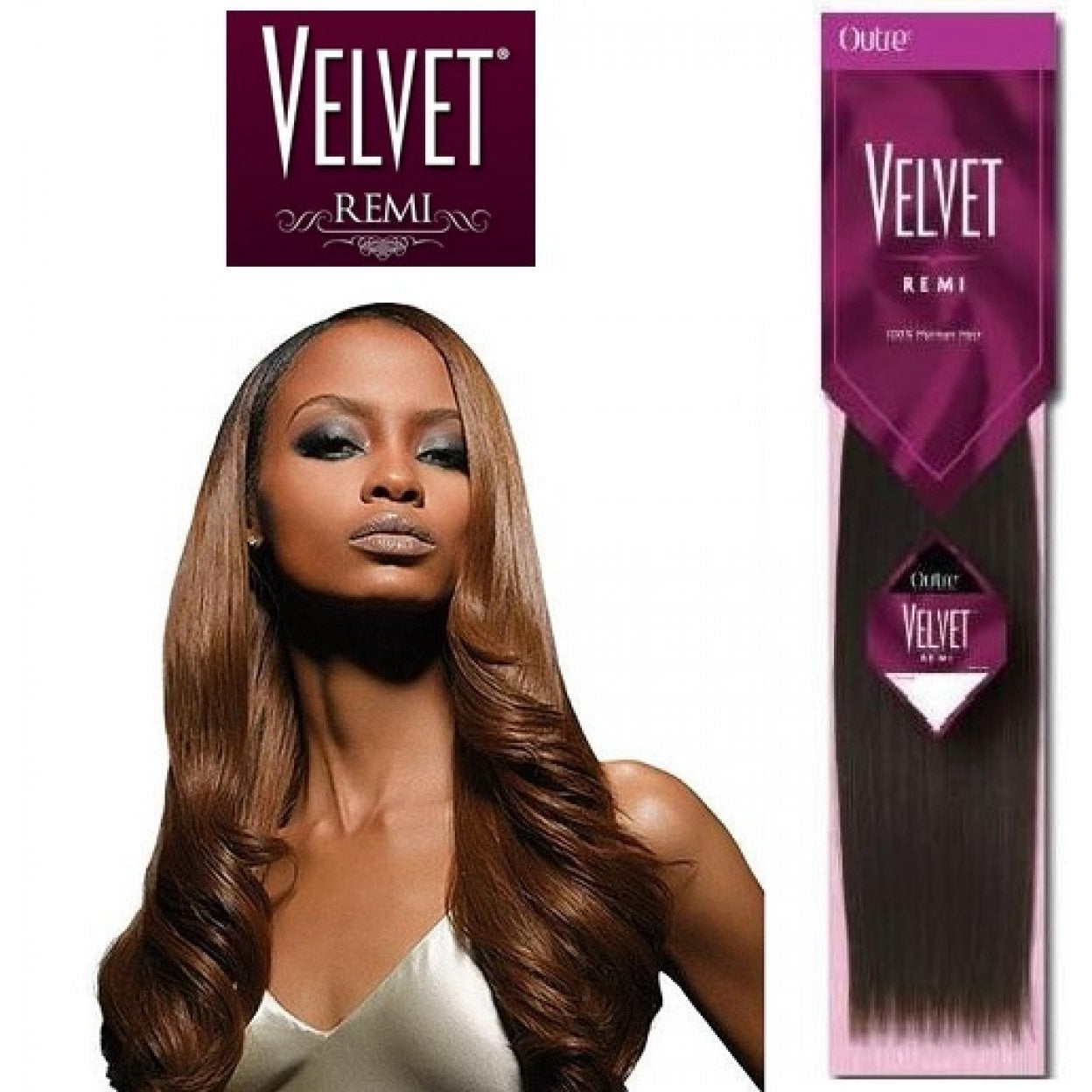 Image result for Outre Velvet Remi 100% Human Hair Straight - Yaki