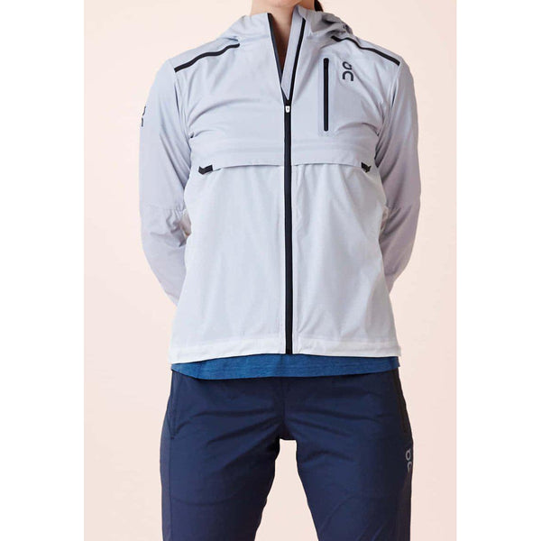 Chaqueta ON Running WEATHER Gris Blanco Mujer
