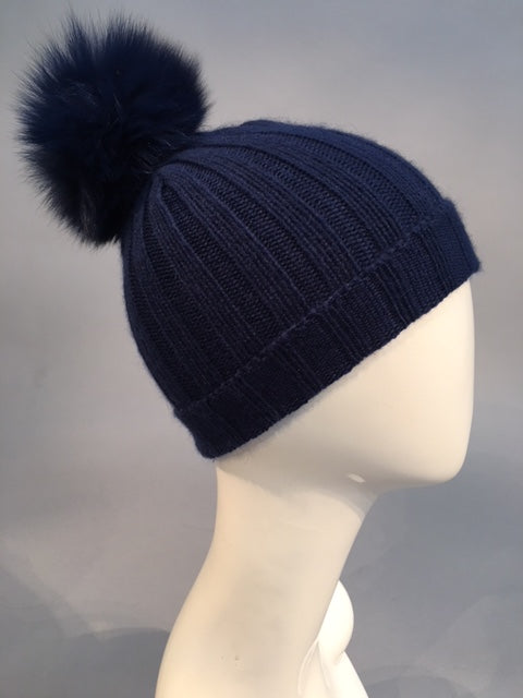 HAT w/ snap-off FOX pom-pom Indigo