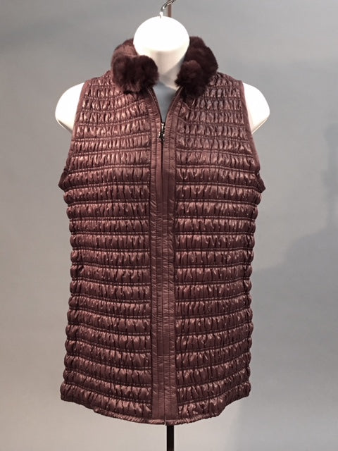Quilted Stretch Vest Burgundy