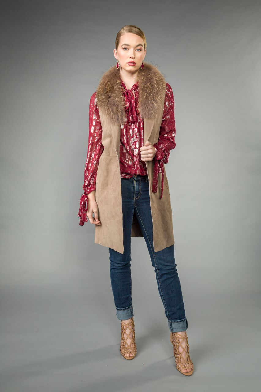 Long SUEDE VEST w/ removable RACCOON collar. Front pockets.  Back slit. Sand Dollar