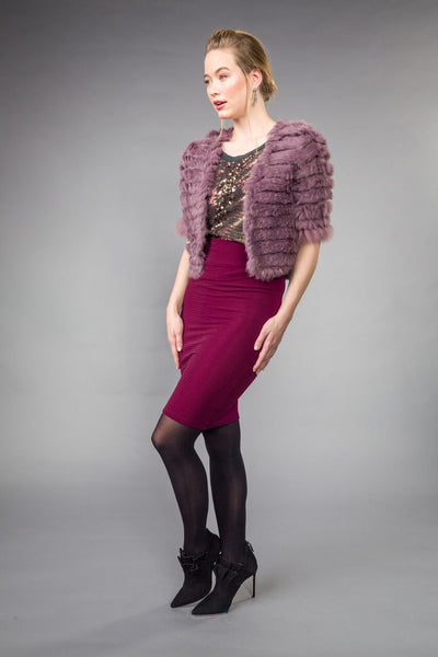 RABBIT BOLERO w FOX trimmed sleeves. Violet
