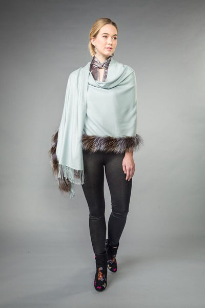 SILVER FOX trimmed WRAP w/ fringe. Ice Blue