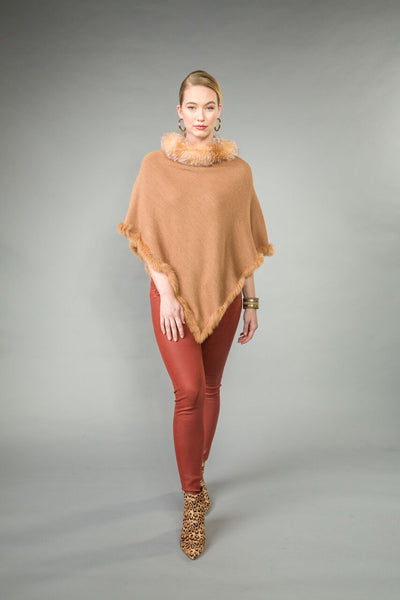 Knit PONCHO w/ SILVER FOX collar.  RABBIT trimmed bottom edge. Camel