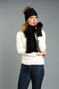 3pc set. RABBIT trimmed SCARF, FINGERLESS-GLOVE, HAT with RACCOON pom-pom.
