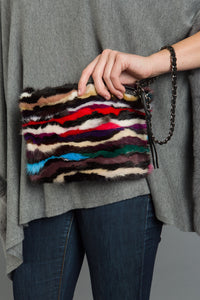 MINK BAG with removable chain, that can be worn as cross-over style or wristlet.