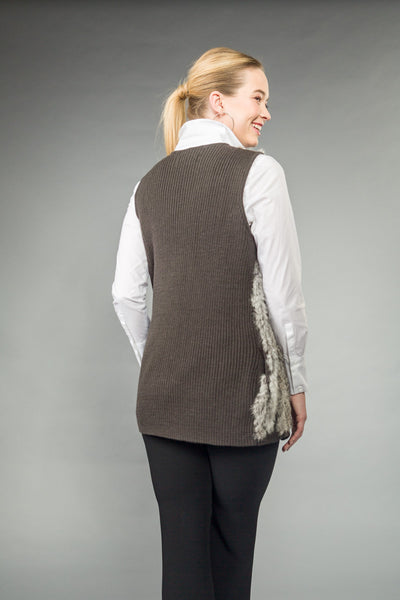 Vertical stripe knitted RABBIT VEST.  Front pockets. Gun Metal Zipper. Gray