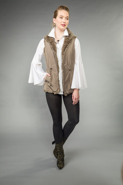 REVERSIBLE RABBIT VEST w/ toggled pull cord. Pale Olive