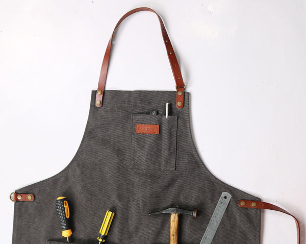 Apron with Detachable Leather Straps