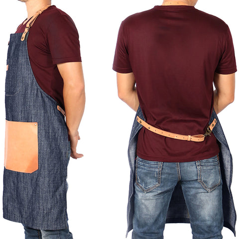 Denim Apron with Large Leather Pocket