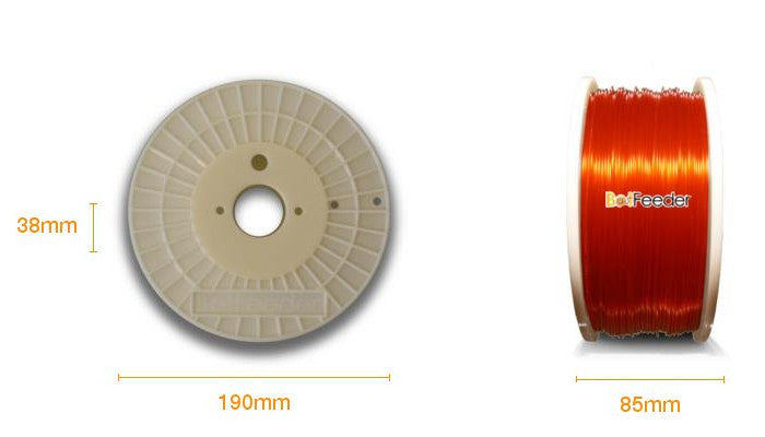 BotFeeder PLA Transparent Orange Filament Dimension