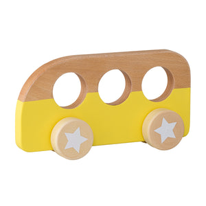 Wooden Yellow Toy Bus