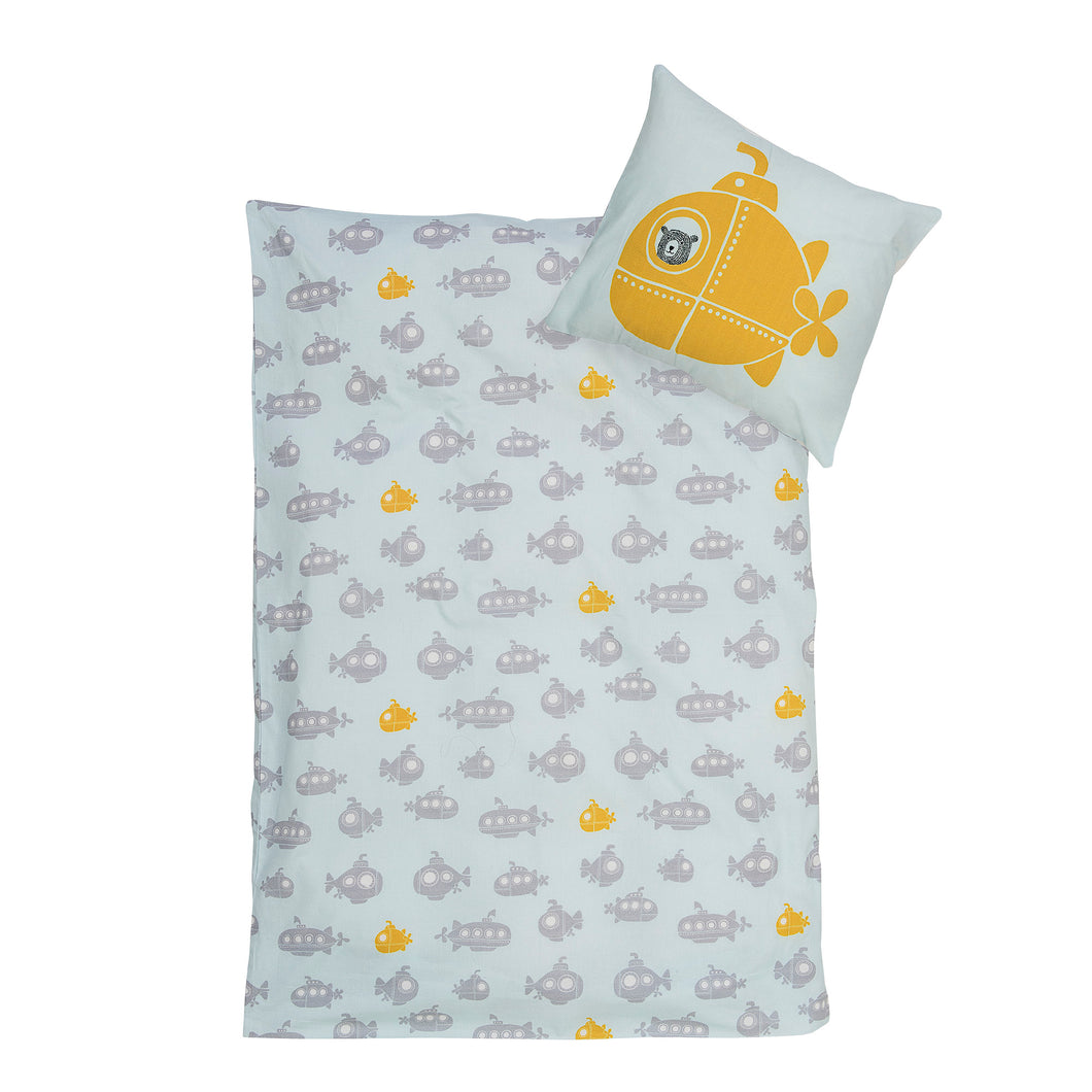 Submarine Cot Bed Duvet Cover and Pillow Case