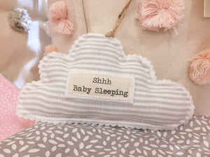 Hanging Grey Stripe 'Shhh Baby Sleeping' Cloud