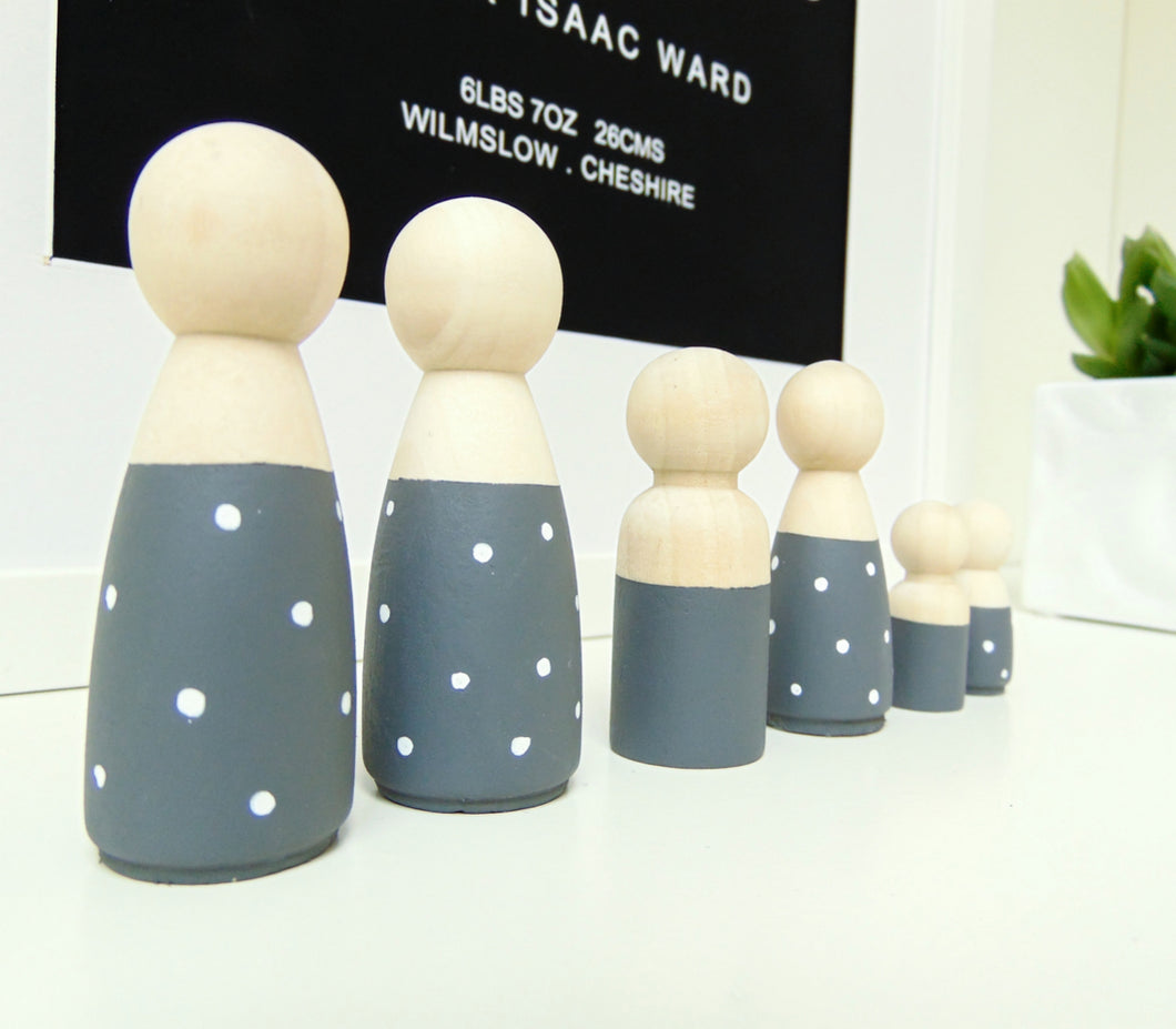 Monochrome Wooden Peg Doll