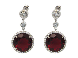 Fronay Co .925 Sterling Silver Elegant Dark Red