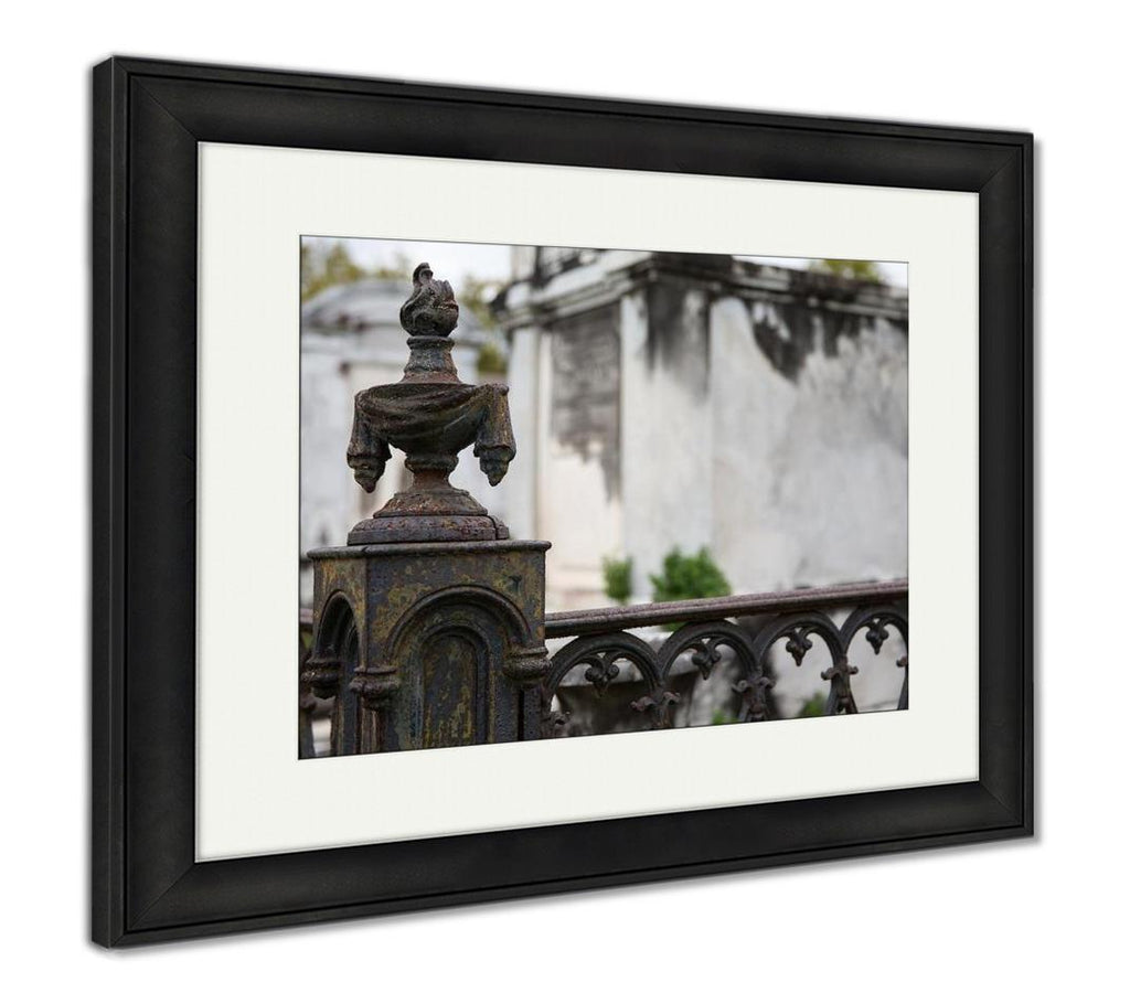 Framed Print, New Orleans Wrought Iron Cemetery Post