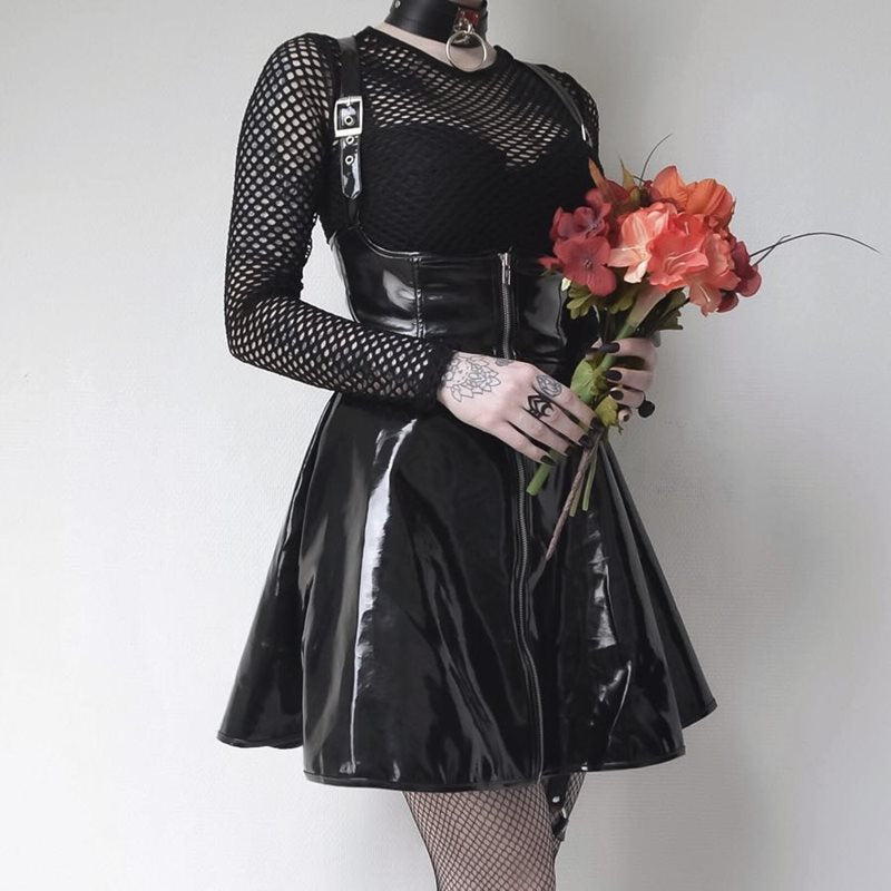 A-Line Bandage Mini Dress - Punk Rock Black Backless Club Gothic Sexy