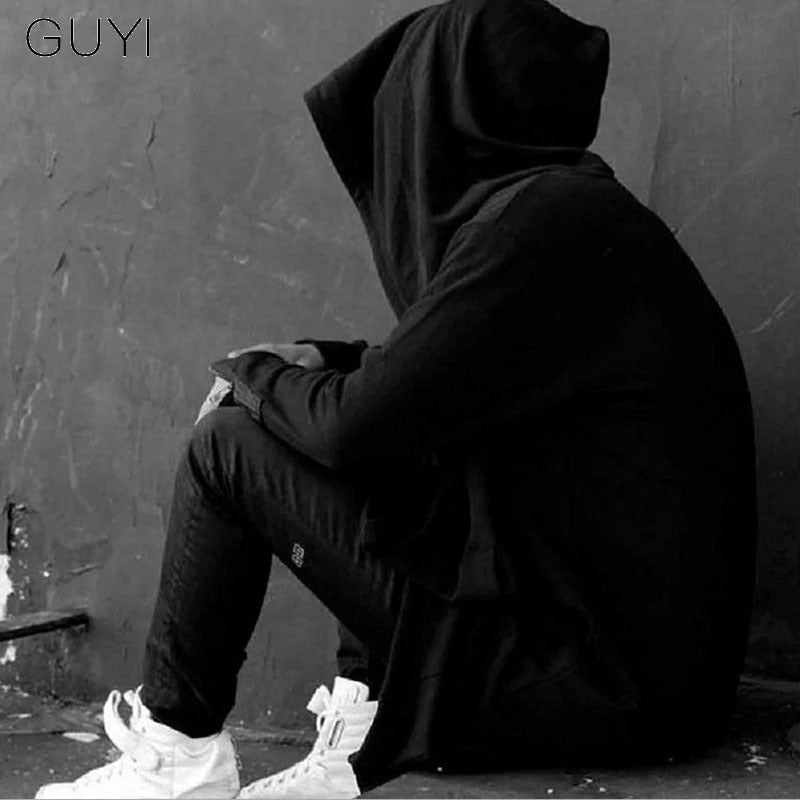 GUYI Black Assassins Creed Darkness Man Wizard Hat Trench Men Hooded Solid Long Cardigan Fashion Gothic Movie Around Coats