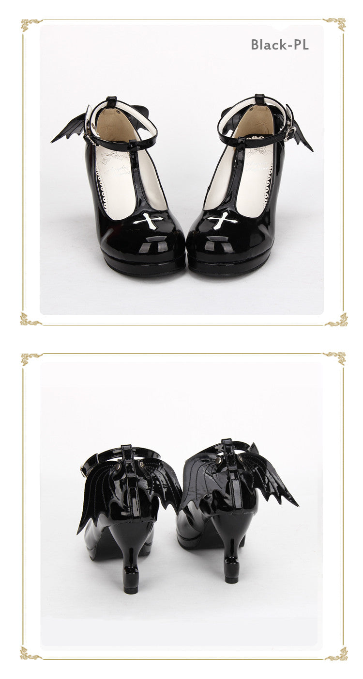 Gothic Lolita Ankle T-strap Shoes with Cross Design, Rounded Toe, Black or Black Patent