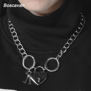 Heart Lock Chain Choker Necklace Unisex
