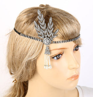 1920s Flapper Great Gatsby Headband Pearl Charleston Party Bridal Headpiece Lady