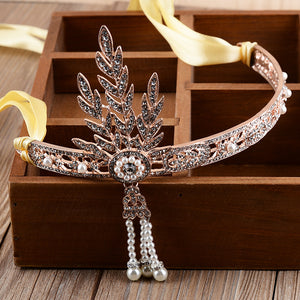 Women's Great Gatsby Vintage Hairband Hair Accessories Crystal Leaf Bridal Headpiece Pearl Tiara Color Headband Vinatge Flapper