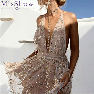 MisShow New Arrival Sexy Deep V Neck Halter Back Summer Women Dress  Lace Solid Sleeveless Party Club Dresses Street Wear