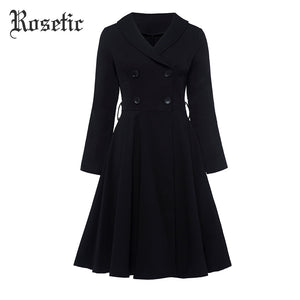 Rosetic Gothic Dress Black Women Autumn A-Line Double-breasted Button Elegant Fashion Vintage Slim Waist Goth Female Dresses Win
