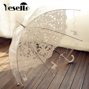 Romantic Lace Design with cats -  Transparent Umbrella