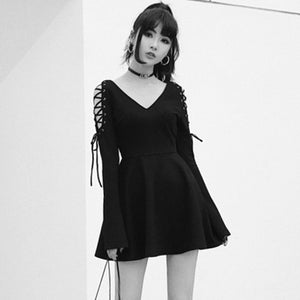 Rosetic Women Dress Sexy V-neck Black Dressses Female Winter Long Flare Sleeve Lace Up Party Club Women Dress Elegant Vintage