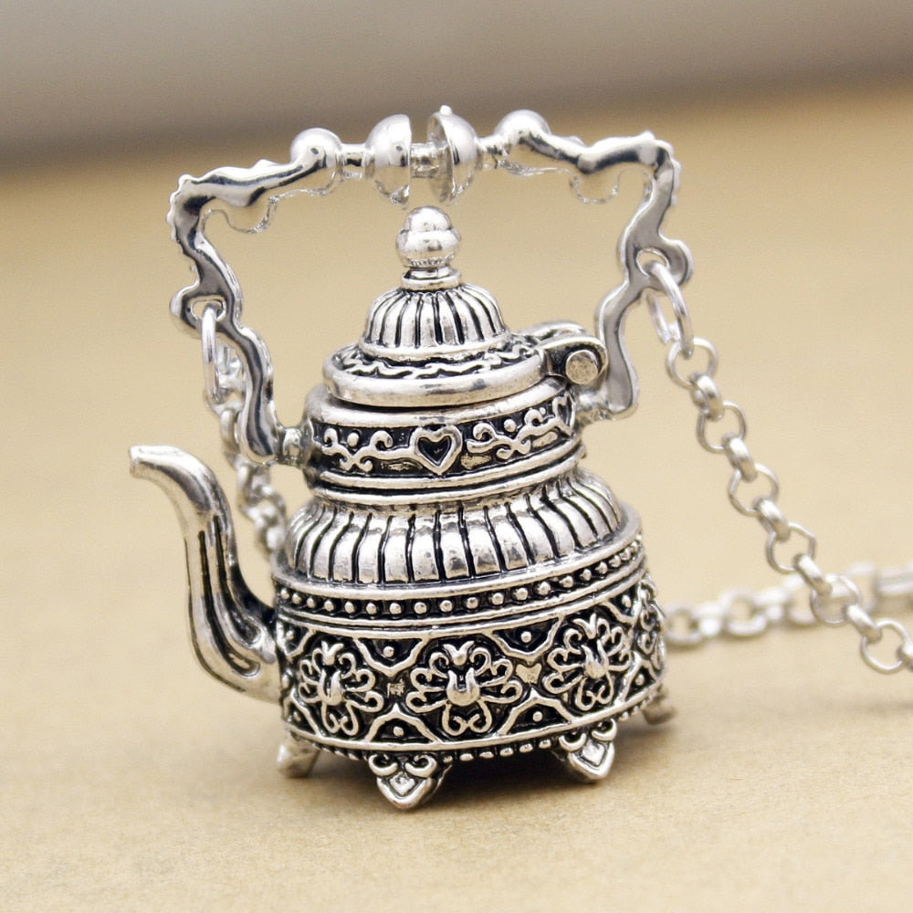 3D Tea Pot Party Victorian Alice in Wonderland Pendant Necklace, Link Chain, Victorian Gothic Lolita style