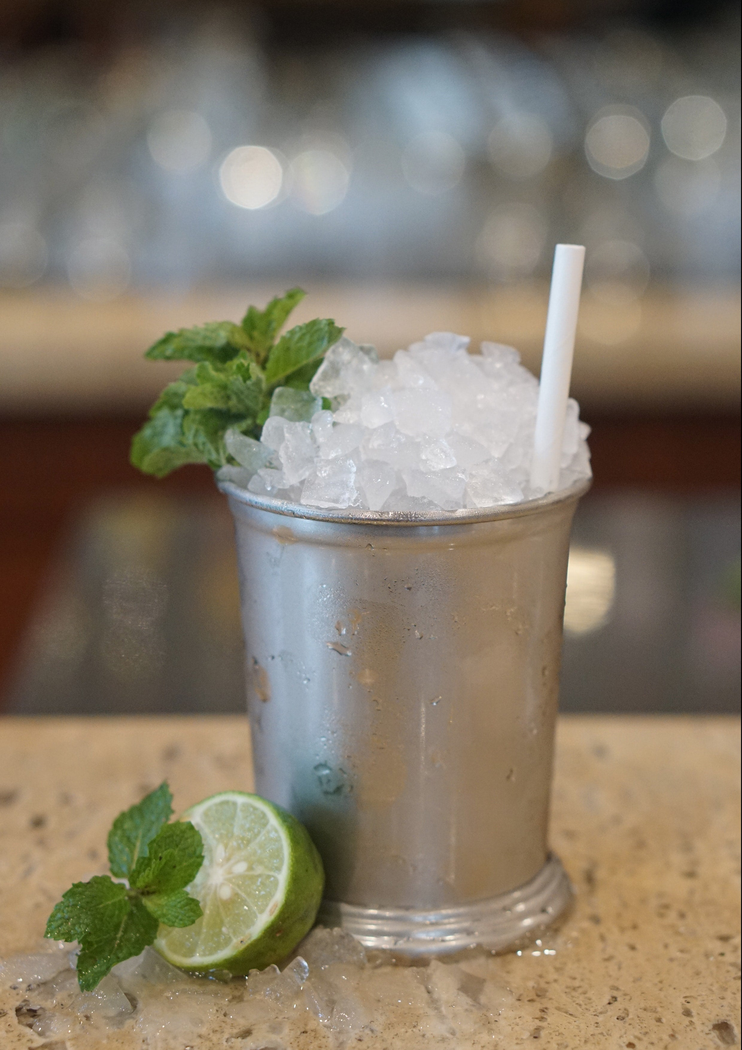 A silver cup of Mint Julep