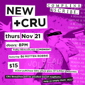 11.21 Compline/Scribe Winery 3rd Annual NEW+CRU Party