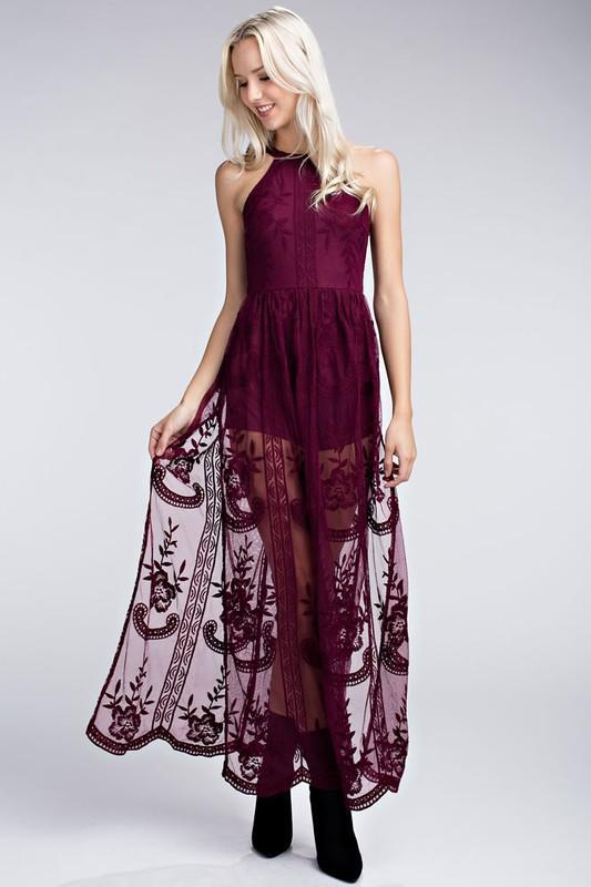 Paris Halter Wine Maxi Dresses