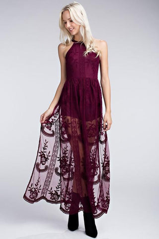 Front View Wine Maxi Dresses at Misty Boutique