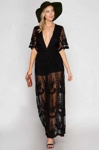 Front View Lace Maxi Dress in Black at Misty Boutique