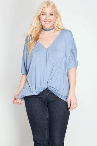 Front View Misty Blue Front Twist Top at Misty Boutique