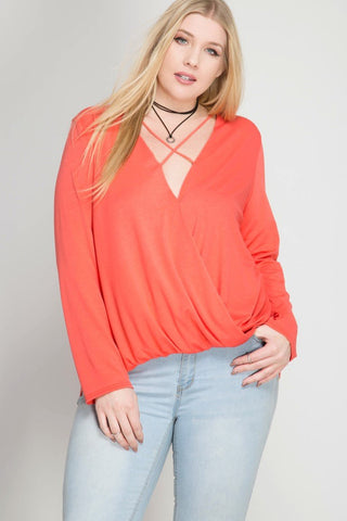 Front View Must Have Cross Front Long Sleeve Top at Misty Boutique