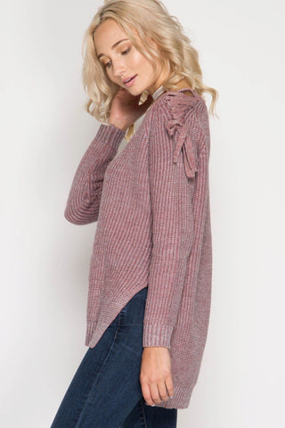 Side View Rose Gold Sweater with Lace up Cold Shoulders at Misty Boutique