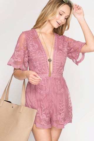 Front View Rose Maxi Lace Romper at Misty Boutique