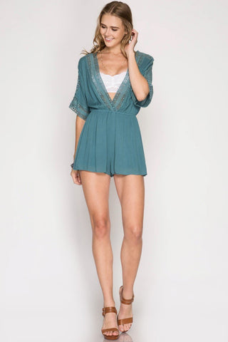 Front View You Bet Slate Short Romper at Misty Boutique