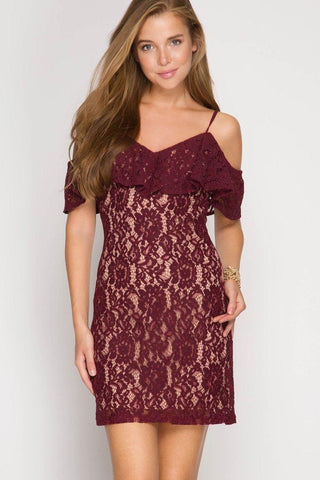 Front View Wine tasting Lace Dress at Misty Boutique