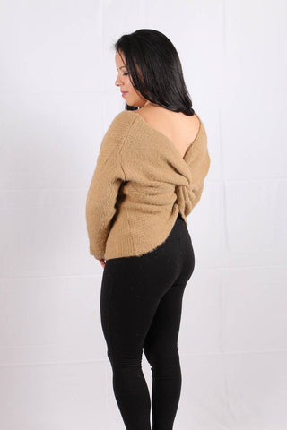 Back View Open Back Sweater at Misty Boutique