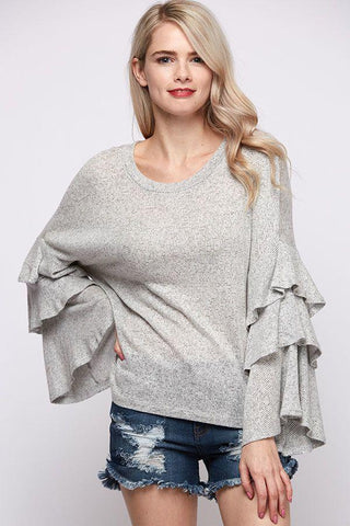 Front View Layered Bell Sleeve Top at Misty Boutique