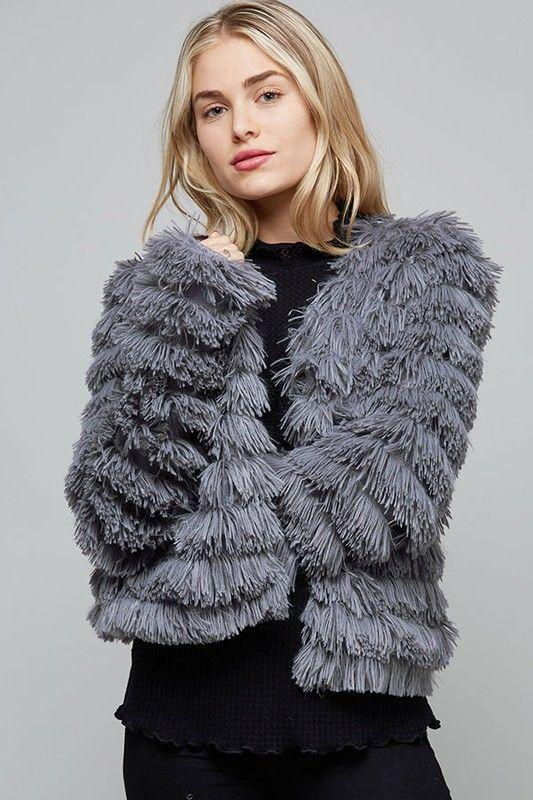Grey Layered Fur Jacket